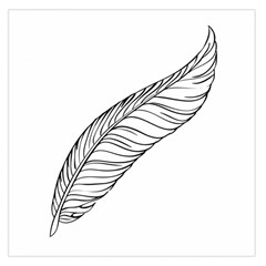 Feather Line Art Large Satin Scarf (square)