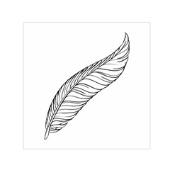 Feather Line Art Small Satin Scarf (Square)