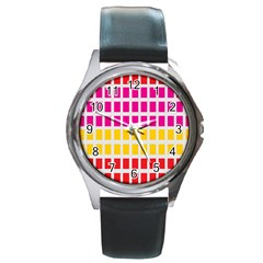 Squares Pattern Background Colorful Squares Wallpaper Round Metal Watch