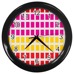 Squares Pattern Background Colorful Squares Wallpaper Wall Clocks (black)