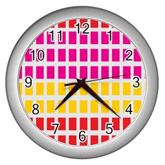 Squares Pattern Background Colorful Squares Wallpaper Wall Clocks (silver)