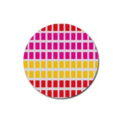 Squares Pattern Background Colorful Squares Wallpaper Rubber Round Coaster (4 Pack)