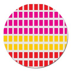 Squares Pattern Background Colorful Squares Wallpaper Magnet 5  (round)
