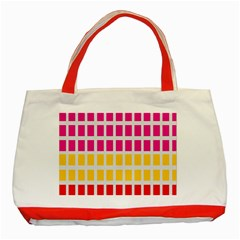 Squares Pattern Background Colorful Squares Wallpaper Classic Tote Bag (Red)