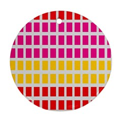 Squares Pattern Background Colorful Squares Wallpaper Round Ornament (two Sides)
