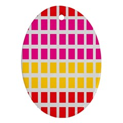 Squares Pattern Background Colorful Squares Wallpaper Oval Ornament (Two Sides)