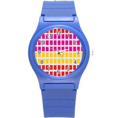 Squares Pattern Background Colorful Squares Wallpaper Round Plastic Sport Watch (S)