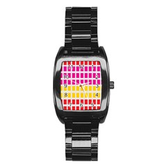 Squares Pattern Background Colorful Squares Wallpaper Stainless Steel Barrel Watch