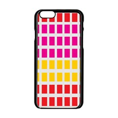 Squares Pattern Background Colorful Squares Wallpaper Apple iPhone 6/6S Black Enamel Case