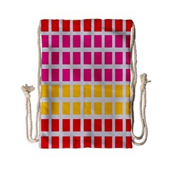 Squares Pattern Background Colorful Squares Wallpaper Drawstring Bag (small)