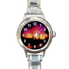 Fall Forest Background Round Italian Charm Watch