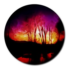 Fall Forest Background Round Mousepads