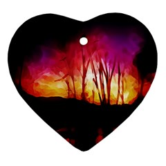 Fall Forest Background Ornament (heart)