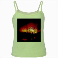 Fall Forest Background Green Spaghetti Tank