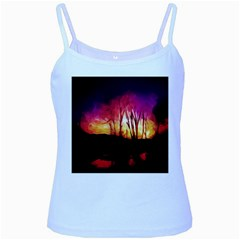 Fall Forest Background Baby Blue Spaghetti Tank
