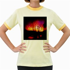 Fall Forest Background Women s Fitted Ringer T-Shirts