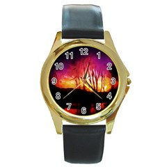 Fall Forest Background Round Gold Metal Watch