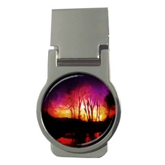 Fall Forest Background Money Clips (round)
