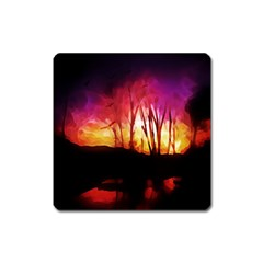 Fall Forest Background Square Magnet