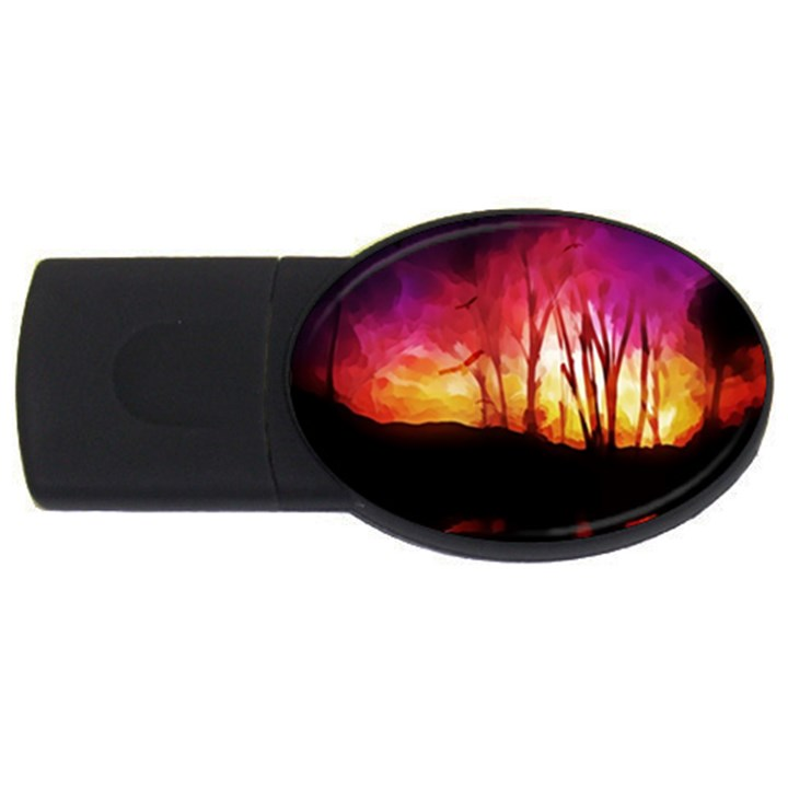 Fall Forest Background USB Flash Drive Oval (2 GB)