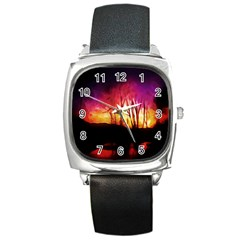 Fall Forest Background Square Metal Watch