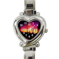 Fall Forest Background Heart Italian Charm Watch