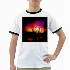Fall Forest Background Ringer T Shirts