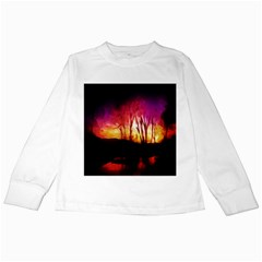 Fall Forest Background Kids Long Sleeve T-Shirts