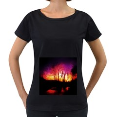 Fall Forest Background Women s Loose-Fit T-Shirt (Black)