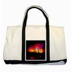 Fall Forest Background Two Tone Tote Bag