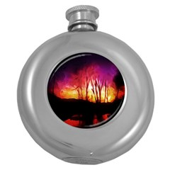 Fall Forest Background Round Hip Flask (5 Oz)