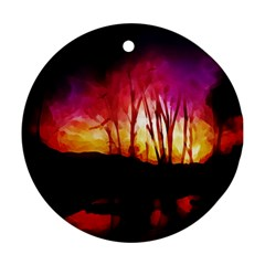 Fall Forest Background Round Ornament (Two Sides)