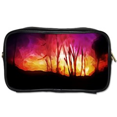 Fall Forest Background Toiletries Bags
