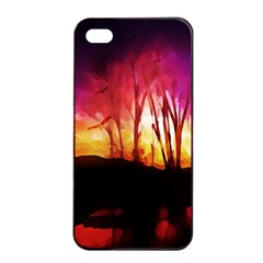 Fall Forest Background Apple Iphone 4/4s Seamless Case (black)