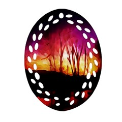 Fall Forest Background Oval Filigree Ornament (two Sides)