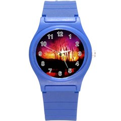 Fall Forest Background Round Plastic Sport Watch (S)