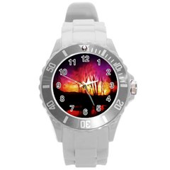 Fall Forest Background Round Plastic Sport Watch (L)