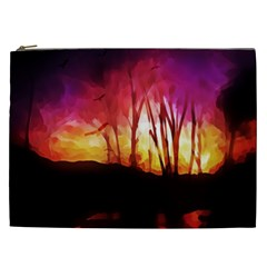 Fall Forest Background Cosmetic Bag (XXL)