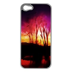 Fall Forest Background Apple iPhone 5 Case (Silver)