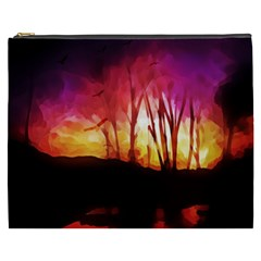 Fall Forest Background Cosmetic Bag (xxxl)