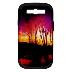 Fall Forest Background Samsung Galaxy S III Hardshell Case (PC+Silicone)