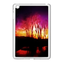 Fall Forest Background Apple Ipad Mini Case (white)
