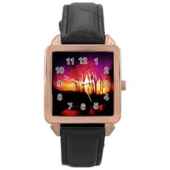Fall Forest Background Rose Gold Leather Watch