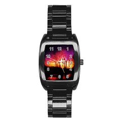 Fall Forest Background Stainless Steel Barrel Watch