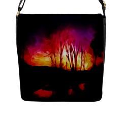 Fall Forest Background Flap Messenger Bag (L)