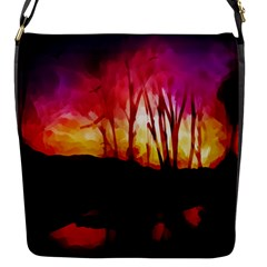 Fall Forest Background Flap Messenger Bag (S)