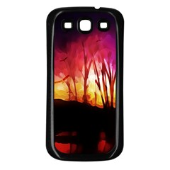 Fall Forest Background Samsung Galaxy S3 Back Case (Black)