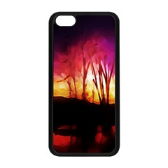 Fall Forest Background Apple Iphone 5c Seamless Case (black)