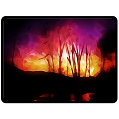Fall Forest Background Double Sided Fleece Blanket (large)