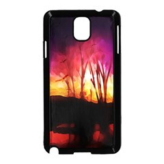 Fall Forest Background Samsung Galaxy Note 3 Neo Hardshell Case (black)